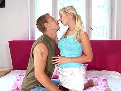 Klara sucks a shaft before taking it in her smooth pussy