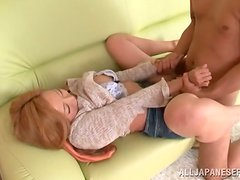 Busty Japanese honey tries on his cock in many poses