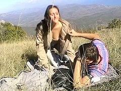 Amateur porn actress Viktoria is riding dick in the open air