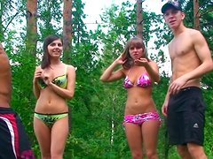 Lewd and spoiled chicks Alika, Tiffany, Hannah & Marta suck dicks in the forest