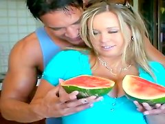 Gorgeous woman with massive melons Brandy Talore is fooling around with Marco Banderas. He