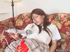 Japanese teen fucked deep in her shaved pussy uncensored