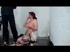 He dumps his entire dinner on her naked body