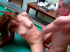 Old dude is fucking his kinky brunette