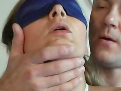 Two lads One nymph having funtime at hogtied blonde expense