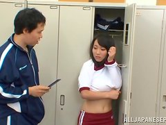 Mao Kurata moans loudly while getting her snatch pounded in the locker room