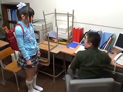 Nasty Japanese teen enjoys some naughty banging on a desk