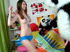 Aroused stiffed toy drills salty teen Nicki in cowgirl style