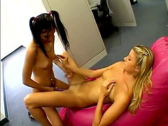 Food and sex in young lady office play