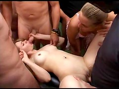 Gangbang with hot cum eating