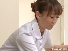 Lovely Japanese nurse gives a blowjob in a restroom