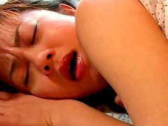 Submissive Japanese cutie Shinobu Kasagi gives a head after finger fuck