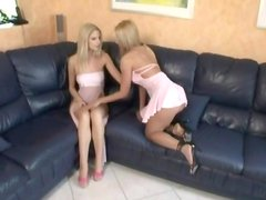 Gentle nipple licking with two pretty lesbians