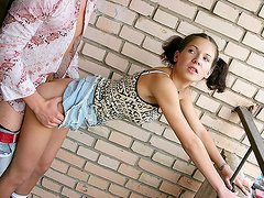 A youthful girl on roller skates fucked for all to see