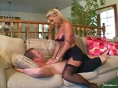 Milf double penetration in her sexy stockings