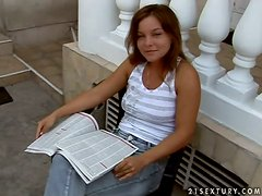 Pretty chick Salome plays dirty games with som lewd old guy