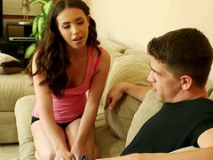 Adorable dark-haired hottie Casey Calvert gives a nice blowjob