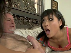 Two Asian hotties share one lucky man in threesome sex video