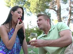 Romantic date with hussy brunette girl outdoor