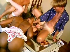 Foursome with cum eating and black pussy fucking