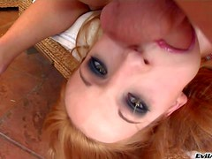 Arousing natural redhead whore Lorena with dark make up and
