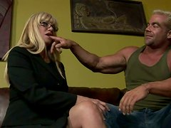 Lascivious blonde sluts give good blowjob to one lucky dude