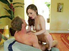 Svelte and charming lady Natalie Moore goes wild and dirty