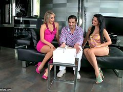 Two sizzling and smoking hot babes Aleska and Aletta are sharing him
