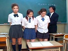 Submissive Japanese students with nice tits have to suck several dicks