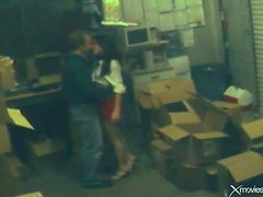 Babe banged on a pile of boxes in security cam clip