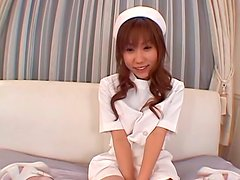 Cute Japanese nurse YURIKA MOMOSE  gives a proper treatment to her patient