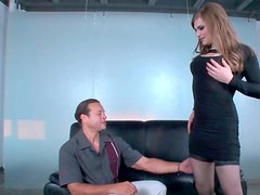 Transsexual dude gives eager deepthroat blowjob