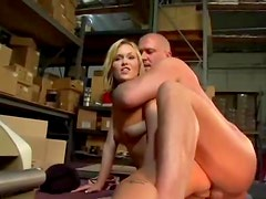 Schoolgirl seduces dude in warehouse