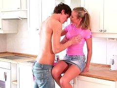 Alison blows and gets stunningly fucked in the kitchen