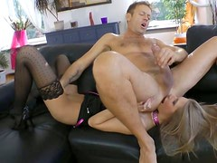 Beautiful blonde slut gives rimjob to Rocco Siffredi