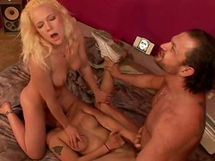Wild threesome with hot brunette ladyboy and one blonde honey
