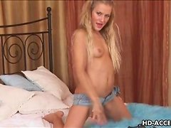 Dildo and anal beads for this hot blonde