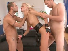 Tremendous double penetration with jar dropping blonde beauty
