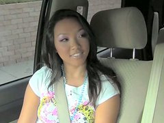 Teen asian girl shows her  tempeting panties in the car
