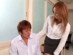 Sextractive Japanese Shiori Ayase gives hand job to stiff cock