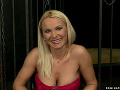 Busty blonde Winnie gets tied up, blindfolded and brutally fucked