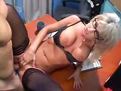 Sexy blonde in glasses insists on getting fucked