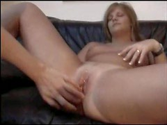Chick sucks him and he fucks her shaved pussy
