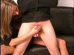 Handjob and prostate fingering for lucky guy