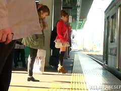 Naughty Japanese babe gets poked in the bus