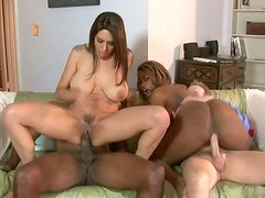 Dirty-minded hot ebony and white chicks desire to be analfucked tough