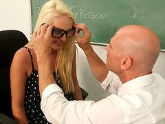 Dirty-minded hot student Ashley Stone pleases her horny professor in college