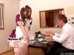 Japanese maid Ai sucks that dick to get its cum