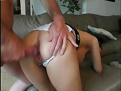 Teen Keeps Panties On For Assfucking