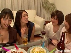 Four curious Japanese girls play with some lucky dude's schlong